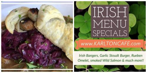 Bucks County food calendar Karlton Cafe Irish Menu Specials