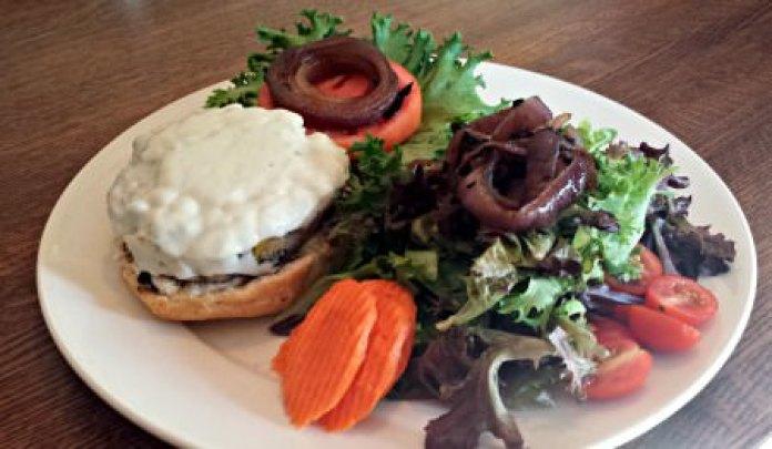 Beefless burger; photo credit Sue Gordon