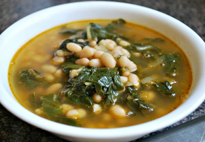 Swiss chard soup with beans
