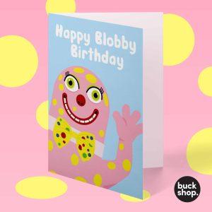 Happy Blobby Birthday - Mr Blobby inspired Greeting Card, Birthday Card