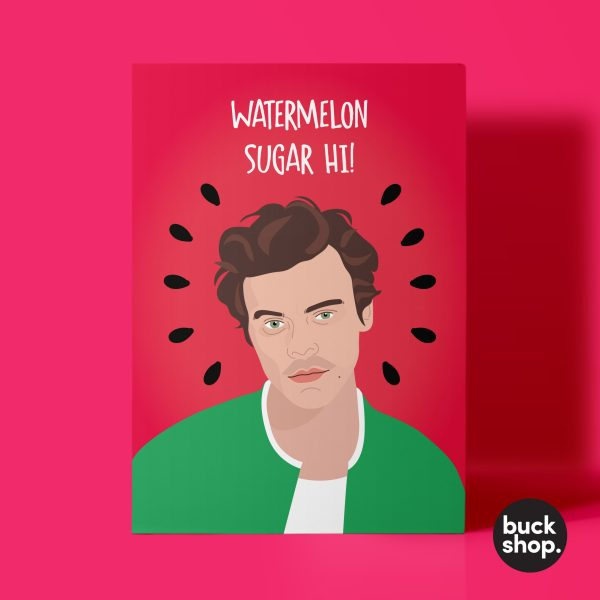 Watermelon Sugar Hi! - Harry Styles inspired Greeting Card, Birthday Card