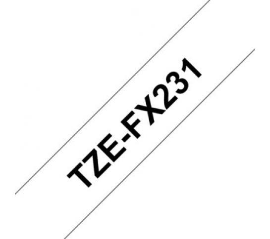 Brother TZEFX231 Blanco/Negro(flexibles) 12mm