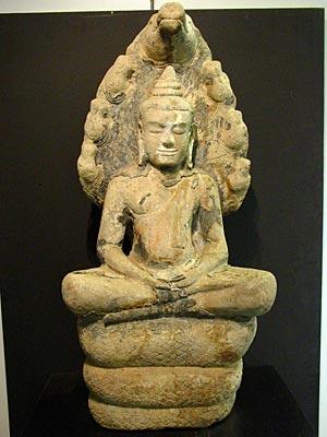 Thailand Buddha Images Khmer Sitting in Meditation, Khmer style, Buddha image with Naga