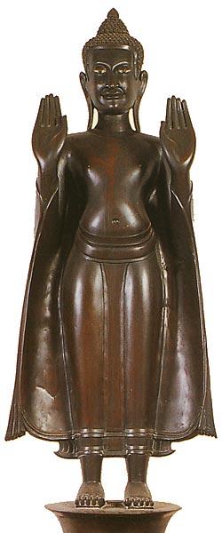 Thailand Buddha Images Khmer Standing Buddha, Calming the Ocean