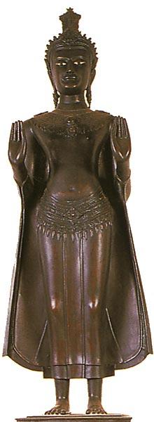 Thailand Buddha Images Khmer Standing Buddha, Lopburi style, Caliming the Ocean