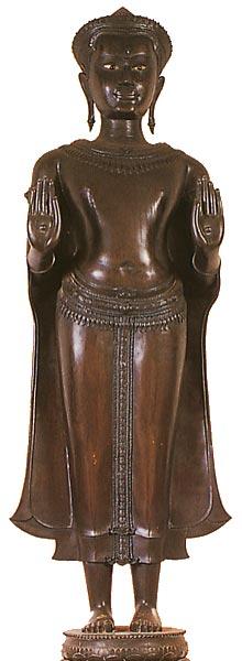 Thailand Buddha Images Khmer Standing Buddha Image, Calming the Ocean