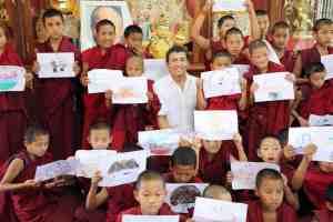Juan Ruiz Naupari with Children Monks after Pneuma Breathwork in Gaden Shatse Monastery