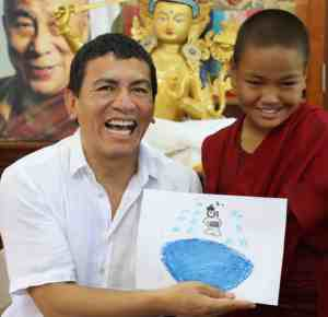Juan Ruiz Naupari with Child Monk after Pneuma Breathwork in Gaden Shatse Monastery