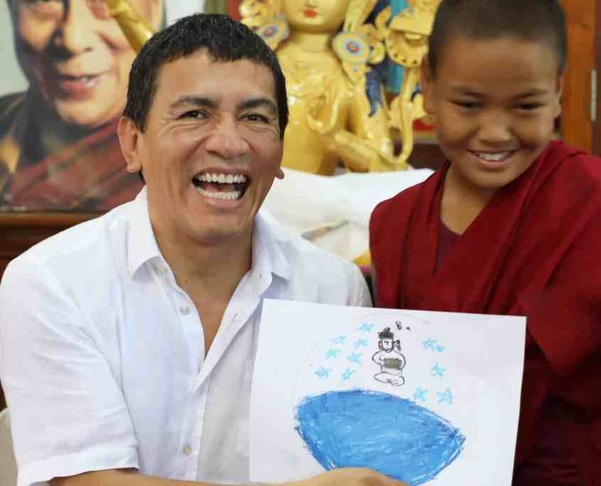 Juan Ruiz Naupari with Child Monk after Pneuma Breathwork in Gaden Shatse Monastery