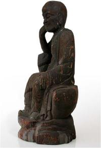 Antique Chinese Carved Luohan in Contemplation Wood Statue