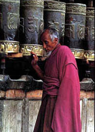 Turning the prayer wheels