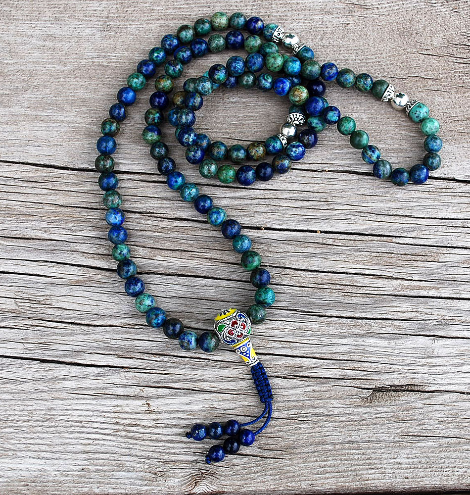 hight resolution of chrysocolla mala prayer beads