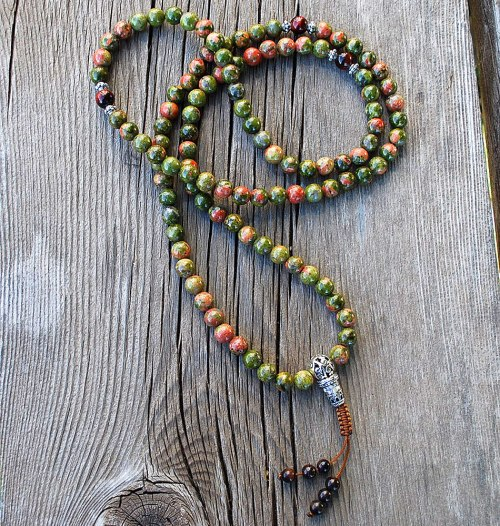 small resolution of unakite buddhist prayer beads