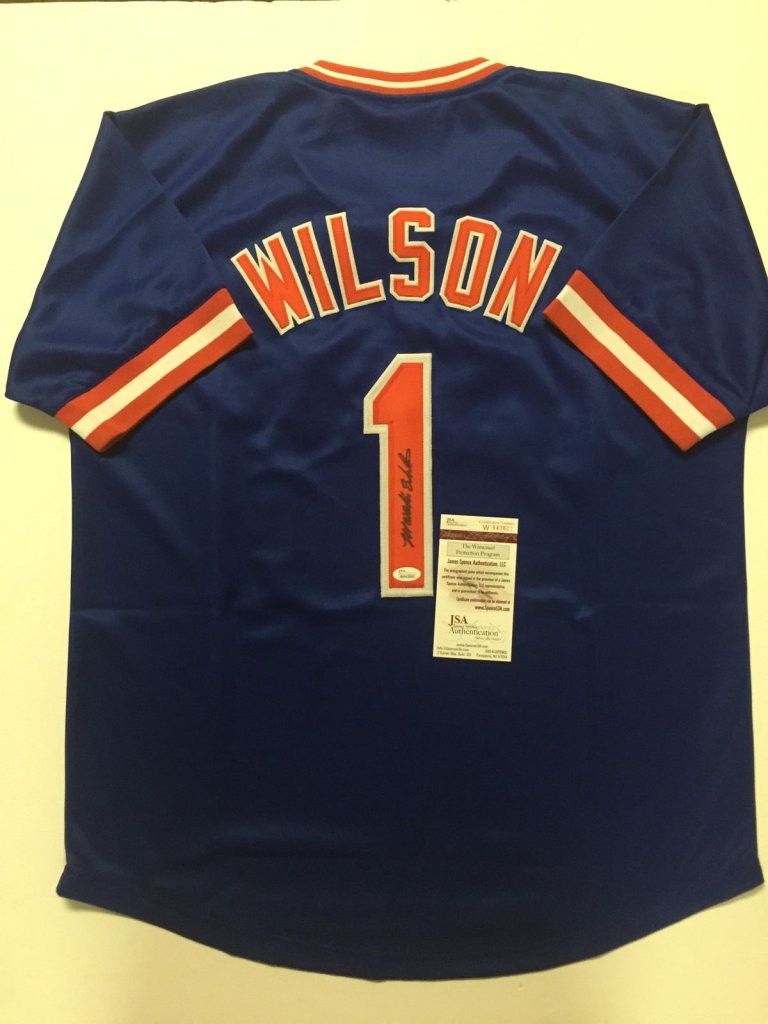 MOOKIE WILSON Signed New York Mets Blue Baseball Jersey ... 73101ec32