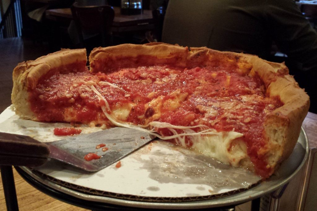 Cheese pizza at the Magnificent Mile location of Giordano's