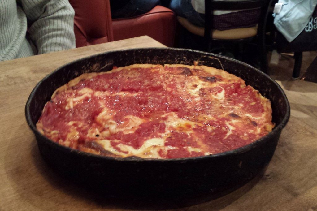 Cheese pizza at the Gold Coast location of Lou Malnati's