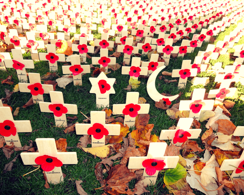 These poppies commemorate the Soldiers who lost their lives in World War I