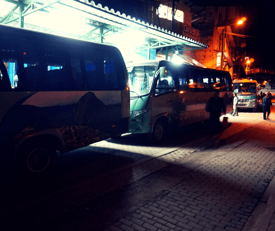 The buses that take you up to Machu Picchu