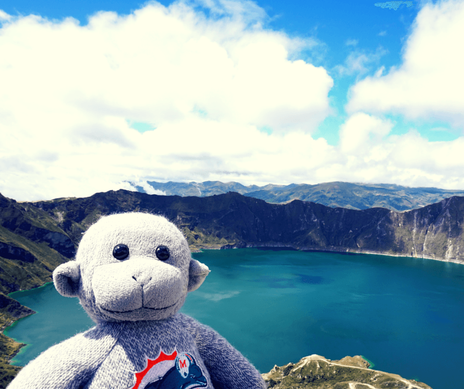 Buddy The Traveling Monkey at Lake Quilotoa