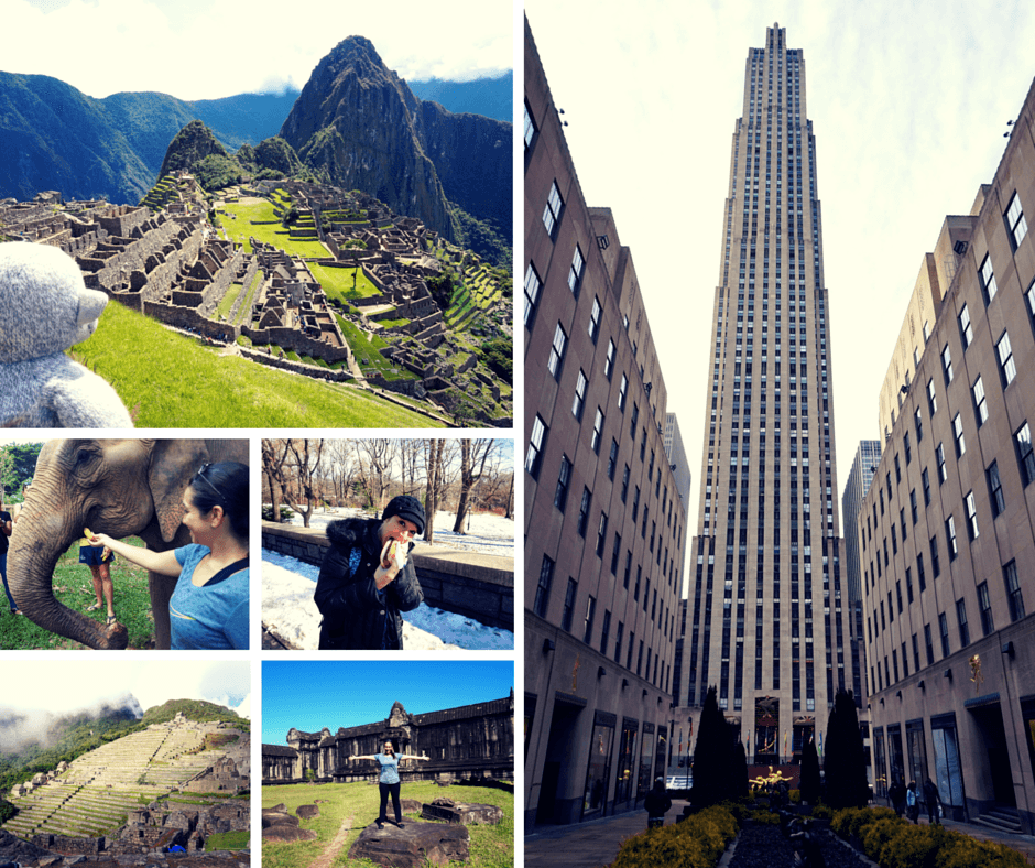Vicky and Buddy in Machu Picchu, feeding elephants in Thailand, eating a hot dog in New York, exploring Angkor Wat