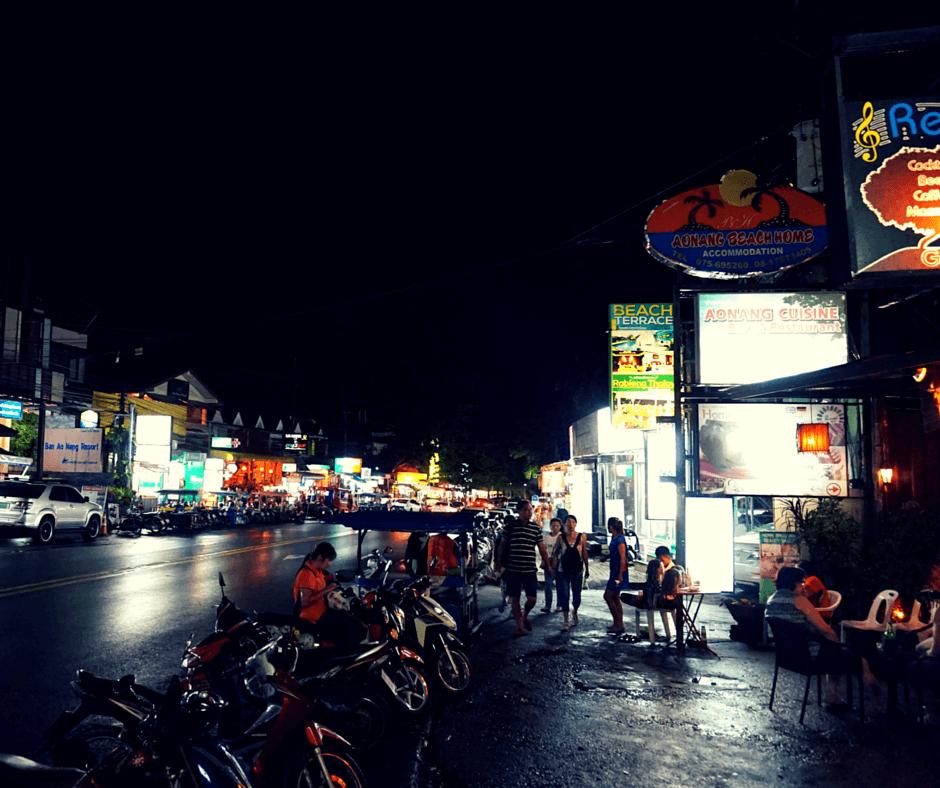 A street in Ao Nang, Thailand at night