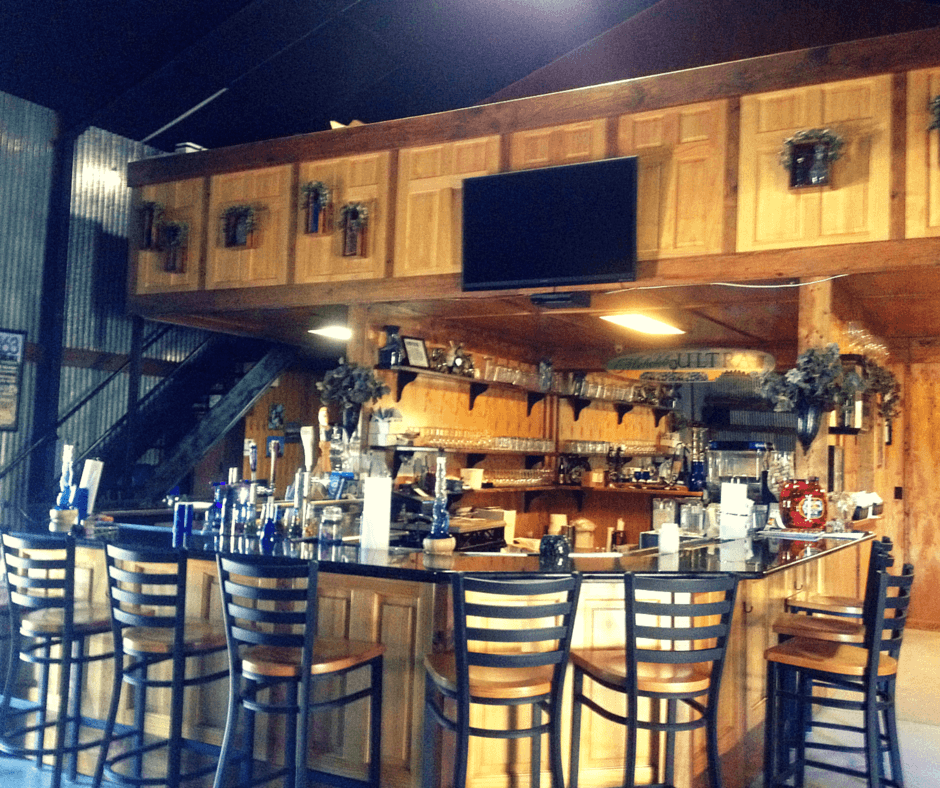 the bar at True Blue Winery