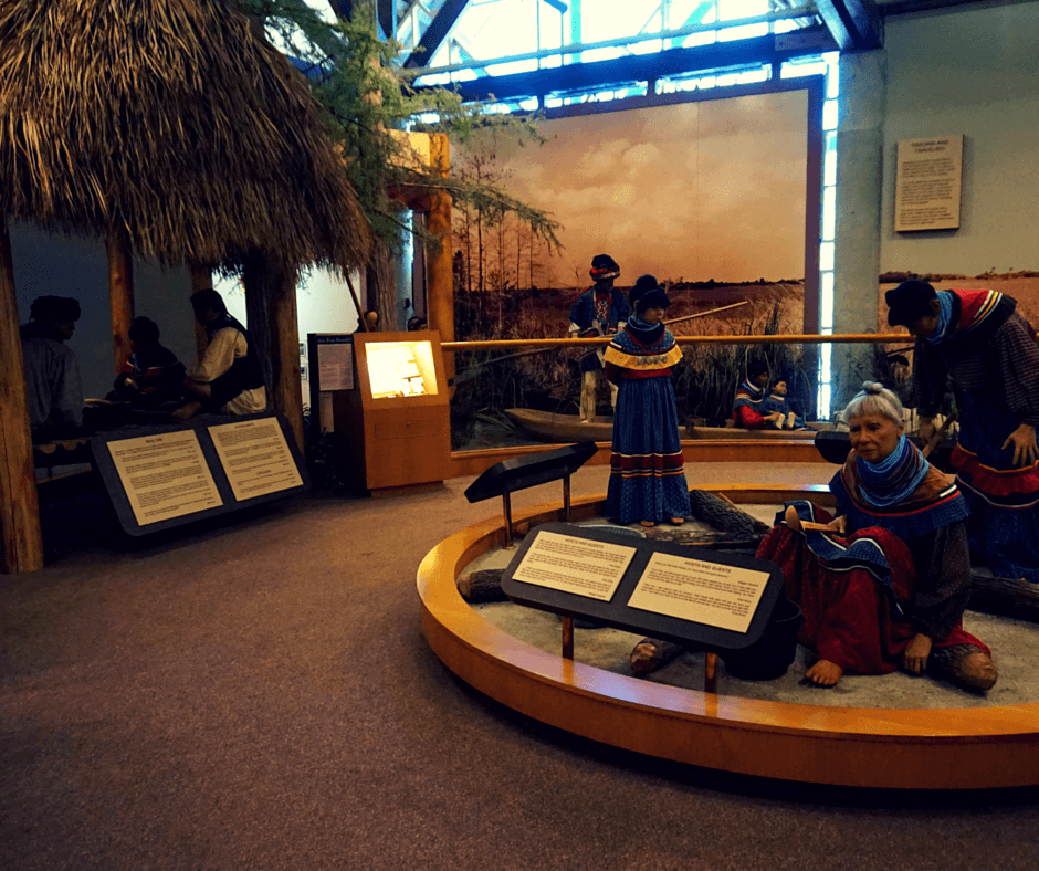 Exhibits at the Ah Tah Tho Ki Museum reflect various aspects of the Seminole culture