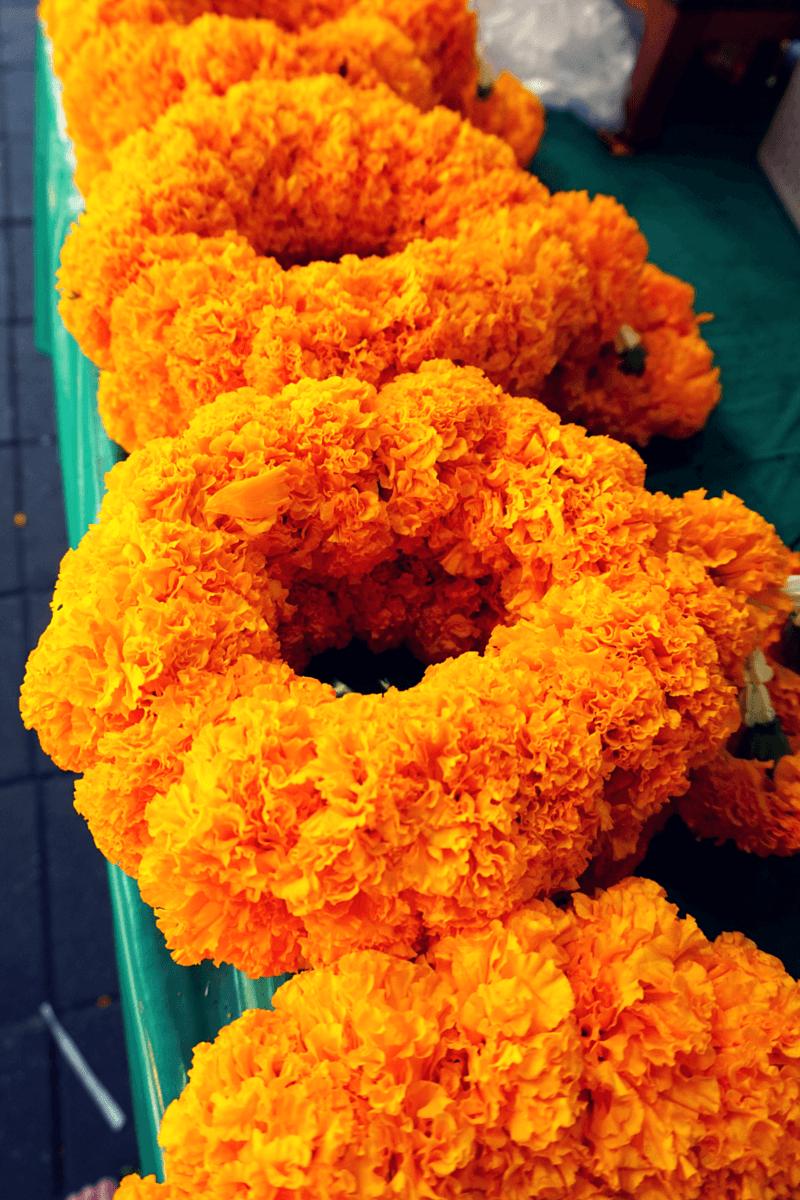 Marigold Flowers at Pak Khlong Talat, Bangkok's largest flower market