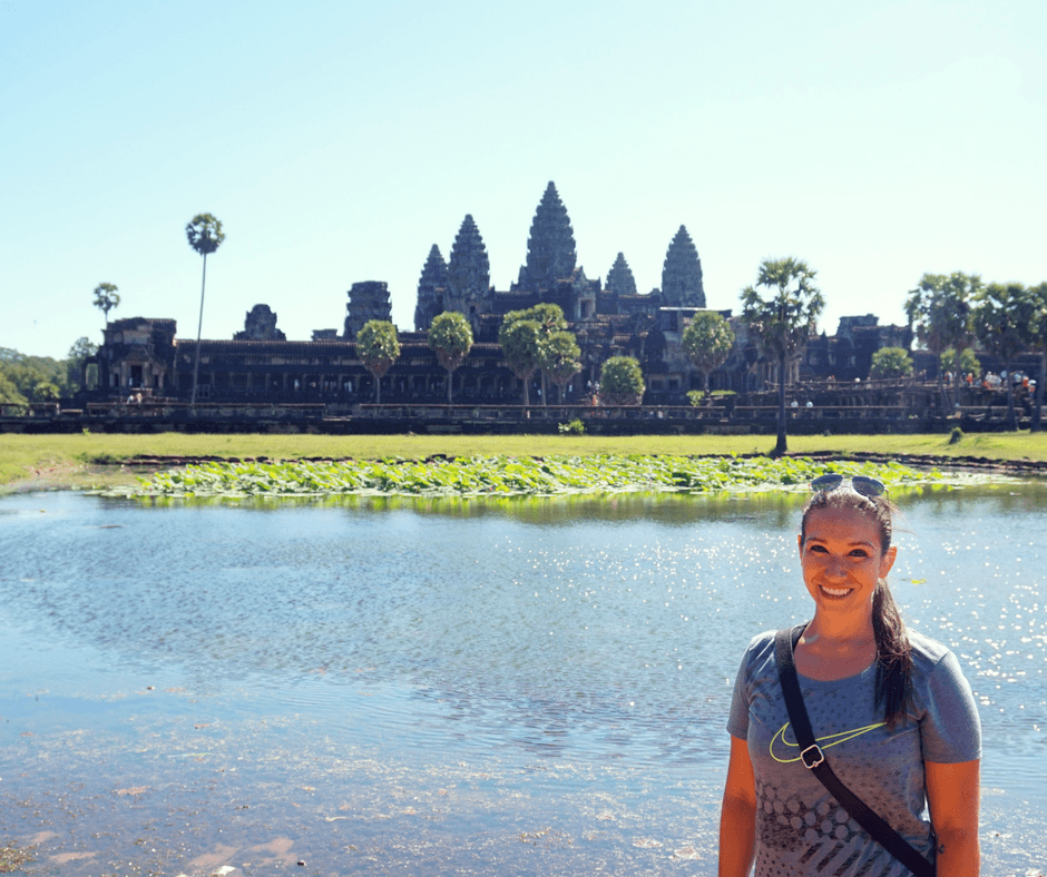 photo in front of Angkor Wat