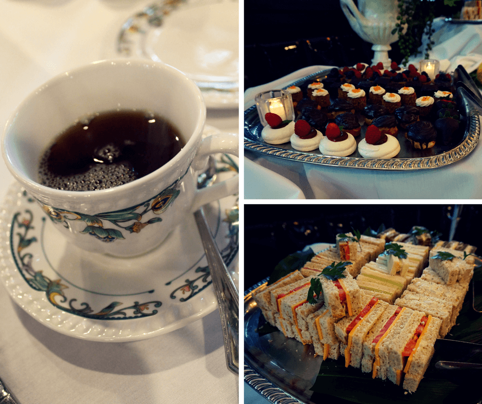 Tea, pastries, and sandwiches at the Chesterfield Hotel