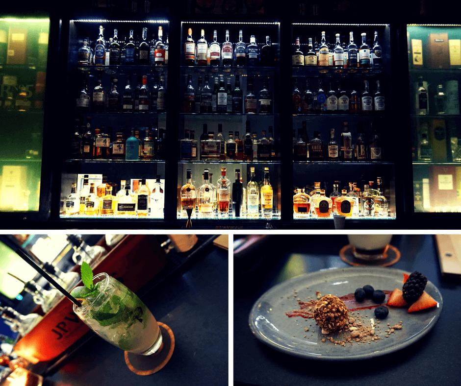 Char No.5 whiskey bar inside Delta Hotel Toronto with mojito and chocolate truffle.