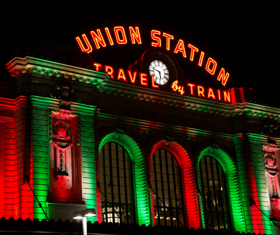 Union Station with red and green holiday lights