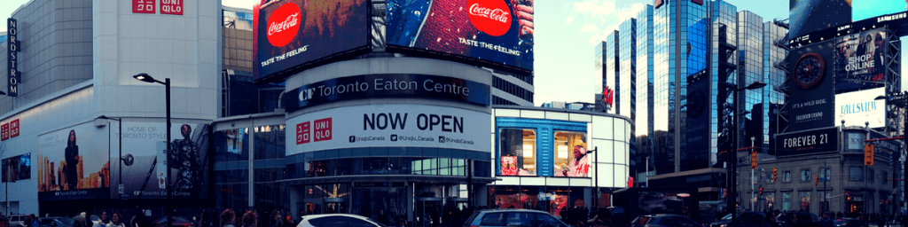 Panoramic view of Yonge-Dundas Square