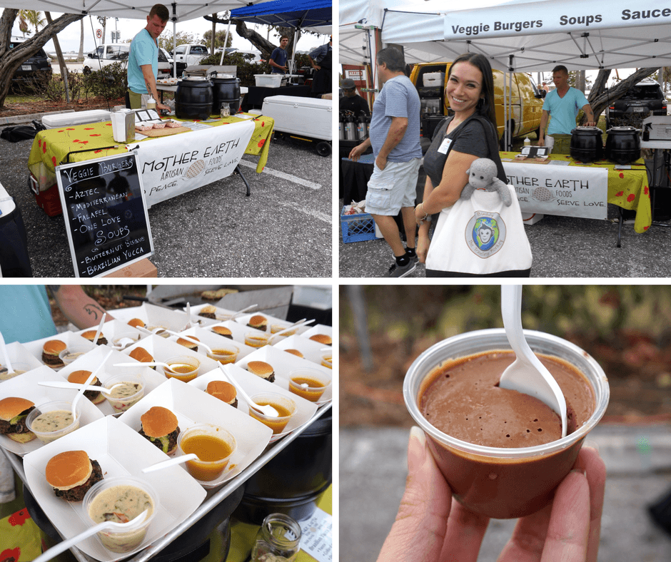 Mother Earth at the Lake Worth Farmer's Market, vegan burgers, and chocolate mousee