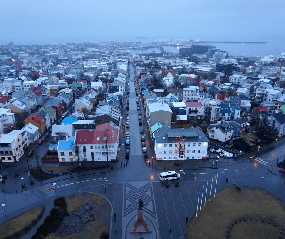 View from the top of Hallgrímskirkja Church