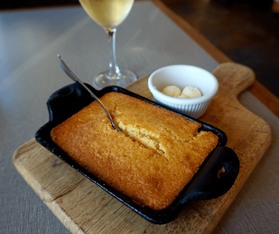 Wine and cornbread at West 82º Bar & Grill