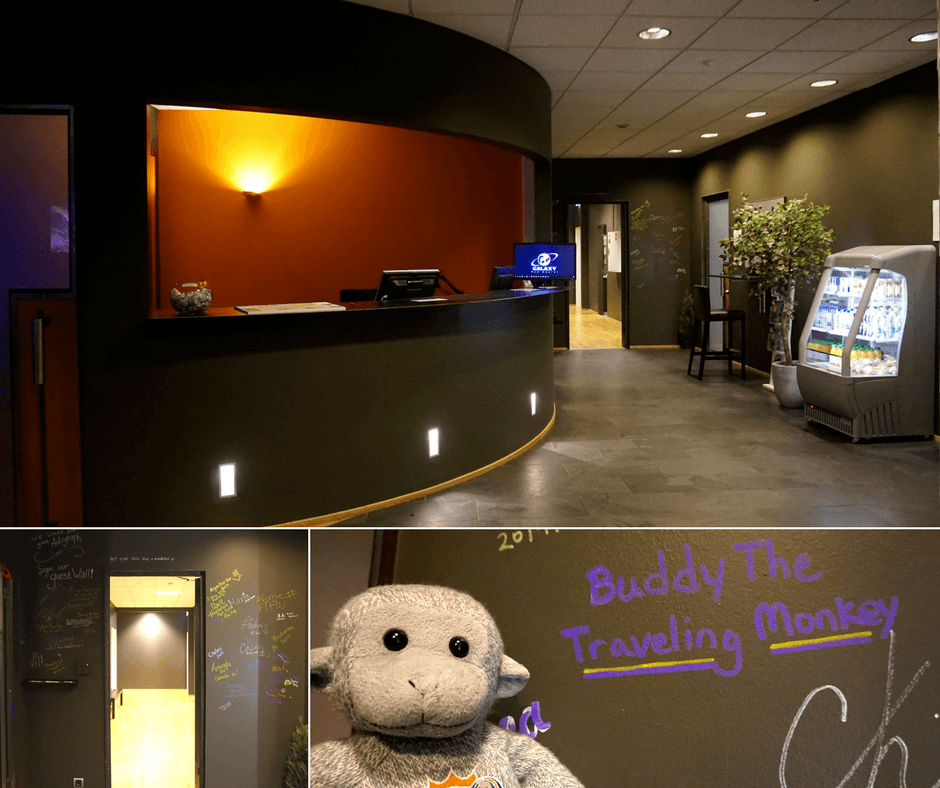 front desk and lobby of the Galaxy Pod hostel