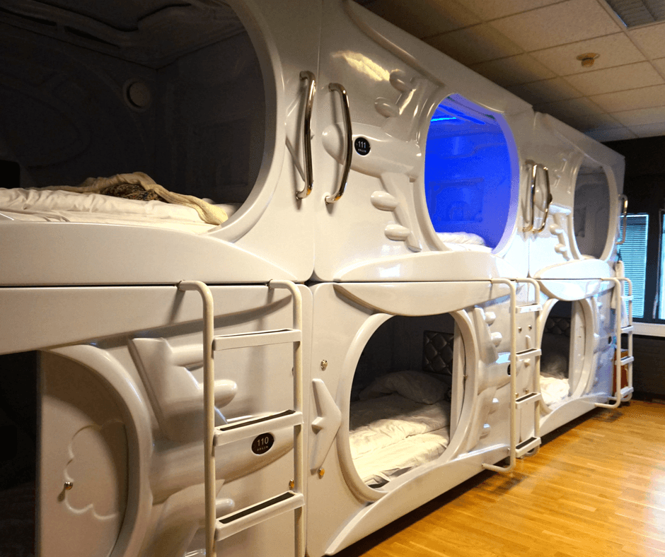 female dorm with six pods at the galaxy pod hostel