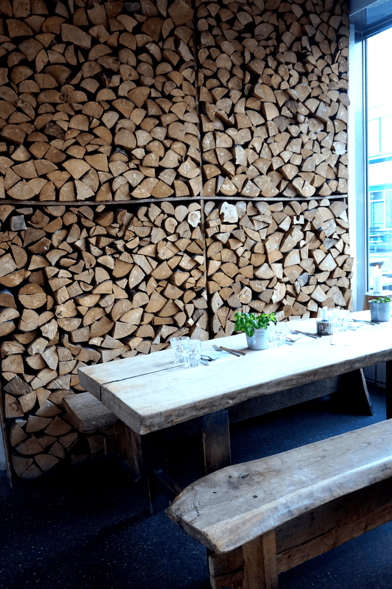 wooden wall and table at mother italian restaurant