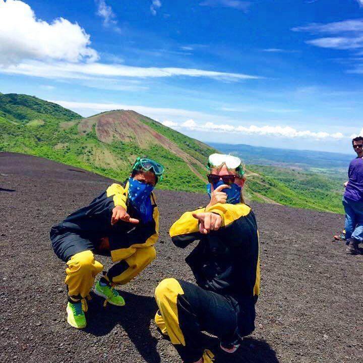 boarding down volcano outside of Leon, Nicaragua