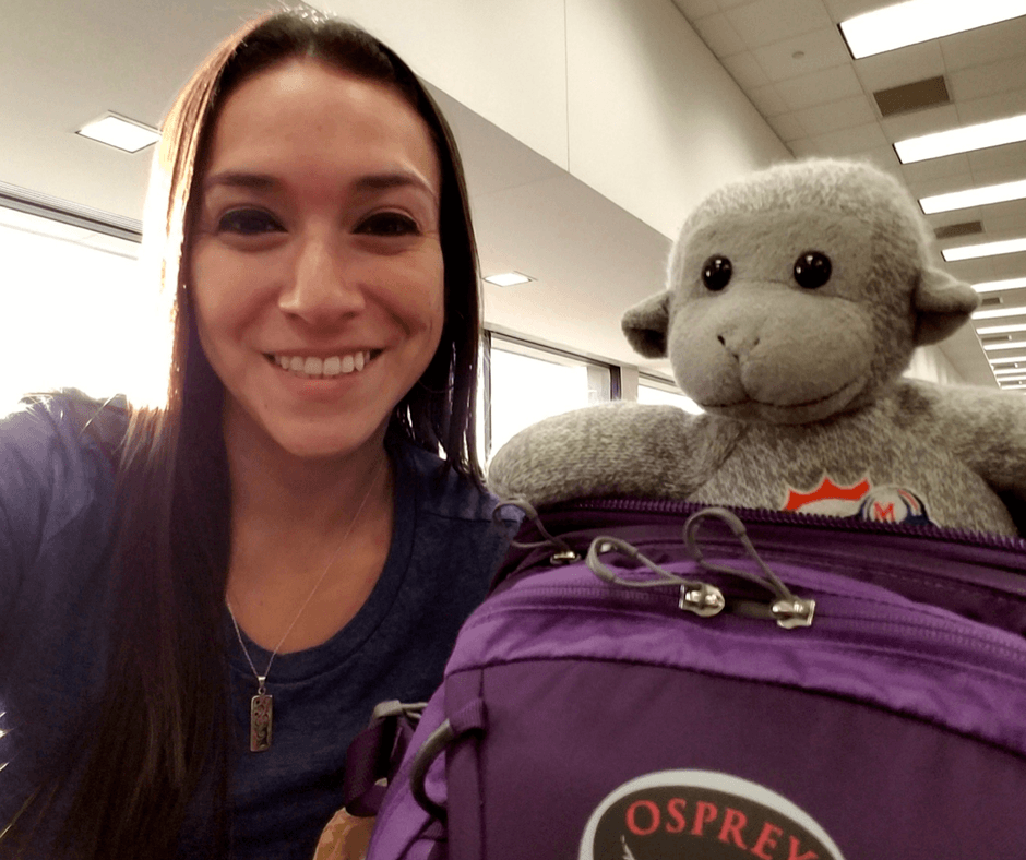 At the airport with Osprey Celeste backpack