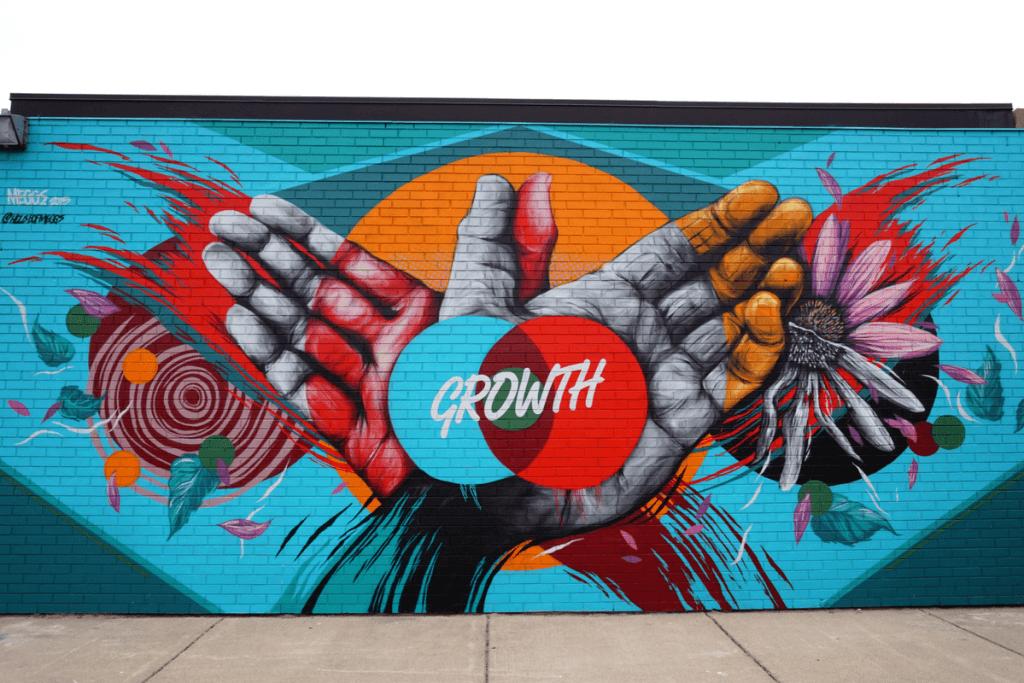 Detroit street art in eastern market by House of Meggs
