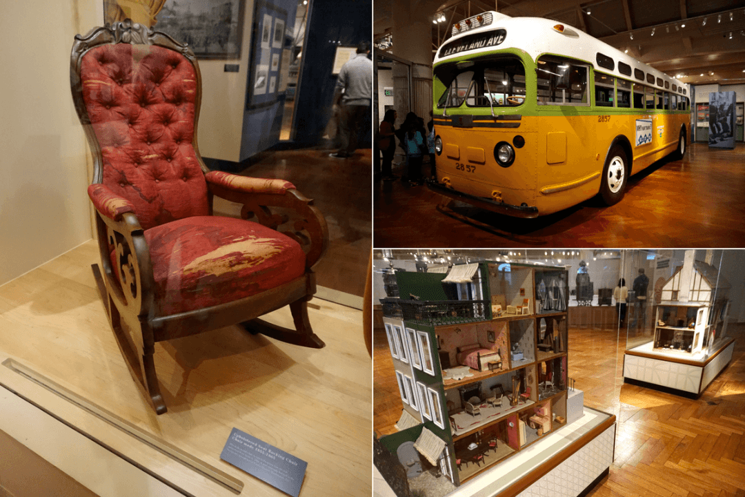 Chair where Lincoln was shot, Rosa Park's bus, doll house inside Henry Ford museum