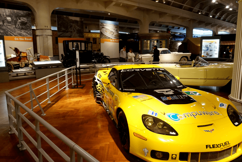 Cars inside the Henry Ford Museum