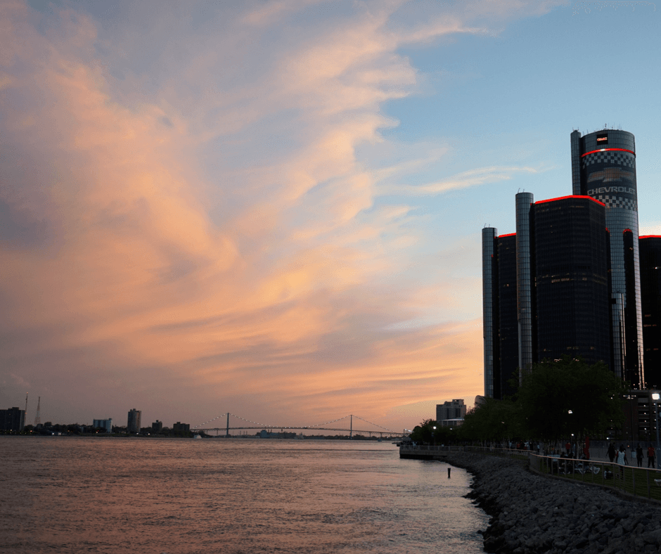 sunset at the detroit river walk