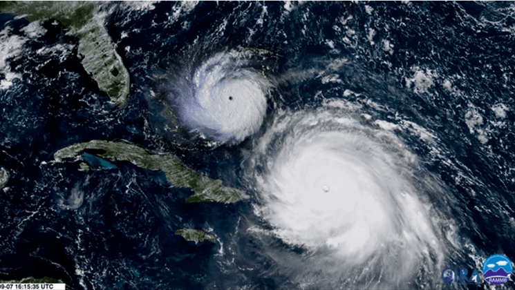Hurricane Andrew compared to Hurricane Irma