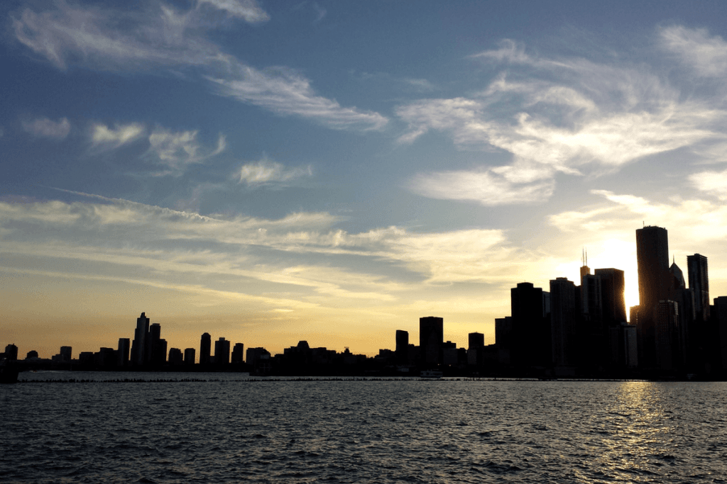Chicago downtown skyline at sunset