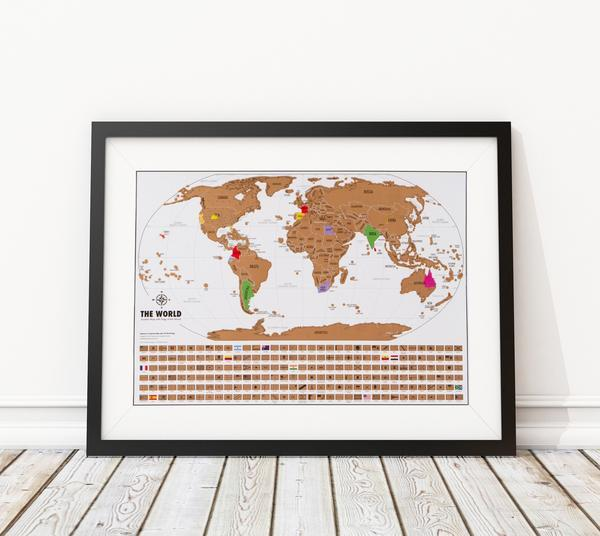 framed world travel tracker map