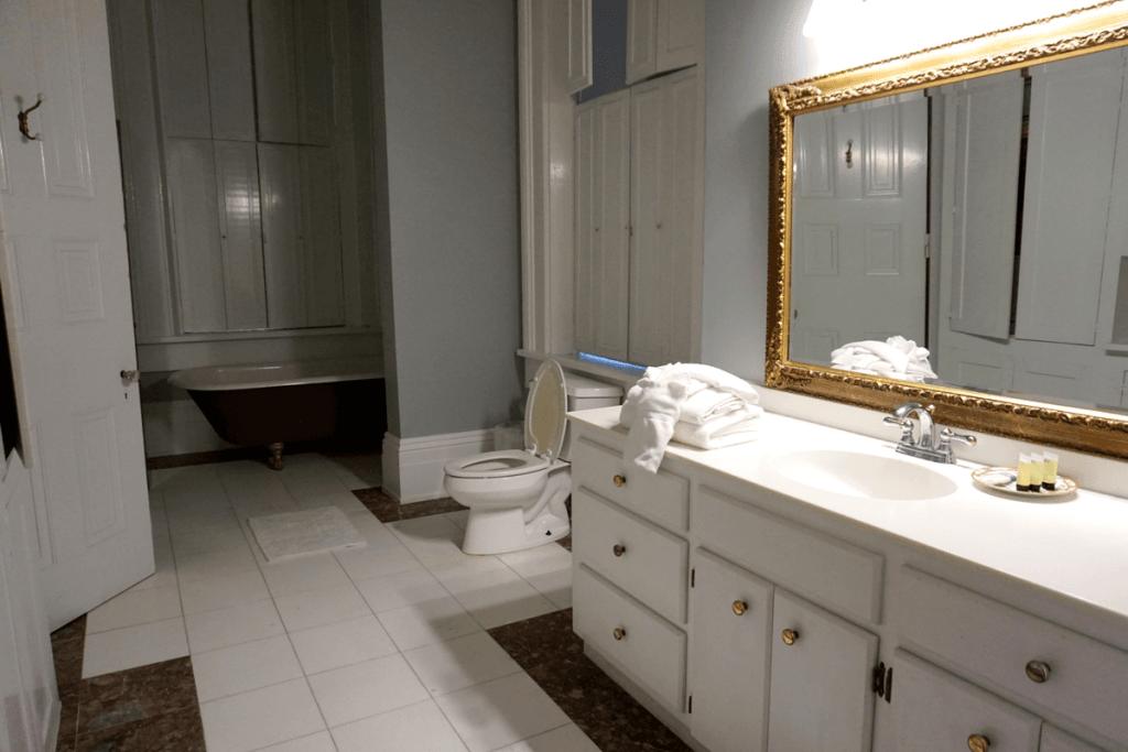 modern bathroom inside the duff green mansion Vicksburg