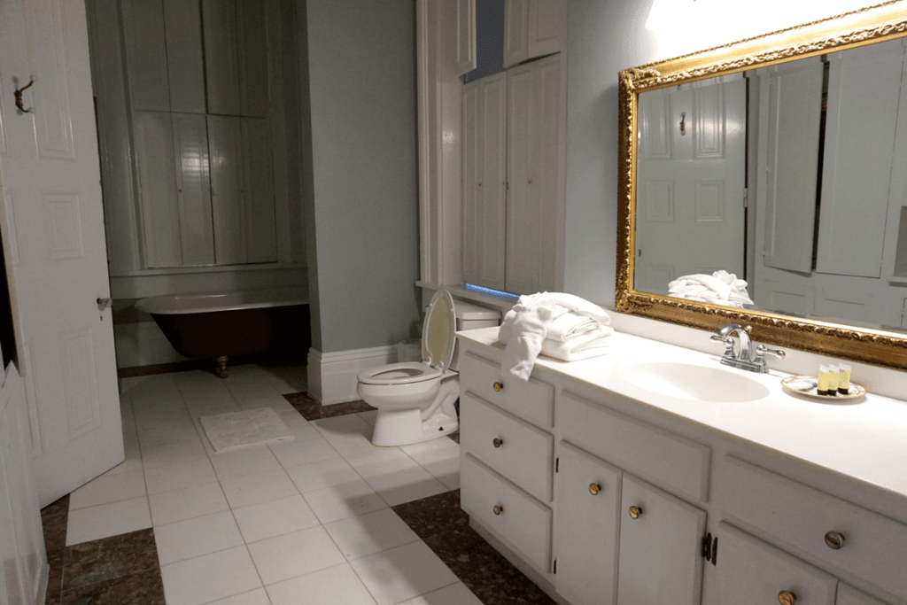 modern bathroom inside the duff green mansion Vicksburg